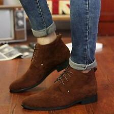 Retro Mens Casual Dress Suede Cowboy Western High Top Lace-Up Ankle Boots Size