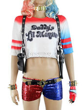 Suicide Squad Harley Quinn Costume Wig Jacket Belt Glove Necklace Shorts Shirt