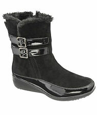 LADIES TRUEFORM SUEDE PATENT HIGH ANKLE SNUGG BOOTS,FUR LINING SIZE 3-8 TLB944