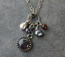 Pietersite & Pearl Necklace - Gemstone cluster on antiqued silver plated chain