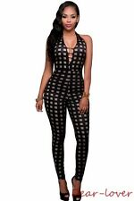 Black V Neck Nude Insert Checks Plaid Sexy Jumpsuits Women Sleeveless Rompers