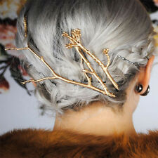 Women Bobby Pins Celebrity Metal Tree Branch Hairpins Gold Silver Hair Clips