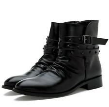 Strap rivet riding punk ankle boots men buckle gothic motor shoes chukka pointy