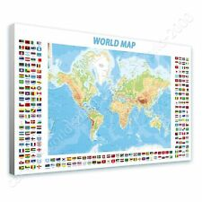CANVAS +GIFT Physical Modern Flags World Map Paintings Wall Art Giclee Prints