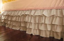 """Multi Ruffle 1Qty Bed Skirt Drop 8-20"""" Egyptian Cotton 1000TC Taupe Solid"""