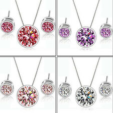 New High Quality Wedding Zircon Round Pendant Ear Earring Necklace Jewelry Set