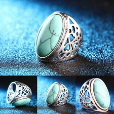 Retro Hollow Turquoise Rings Fashion Bohemian Jewelry Finger Band Ring 4 Size