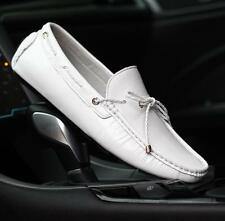 Mens leisure leather Loafer Moccasin driving slip on chic boat shoes black/white
