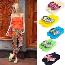 New Women Summer Boho High Heeled Beach Nude Slippers Sandals Flip Flops Home