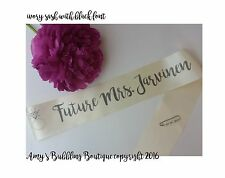 Future Mrs Bridal Shower Bachelorette Bride to Be Personalized Sash w/ Pin