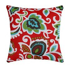 Red Aqua and Green Floral Outdoor Decorative Pillow, Red Floral Throw Pillow