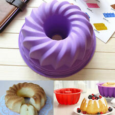 Swirl Bundt Ring Cake Bread Pastry Silicone Mold Pan Bakeware Tray Mould Tools
