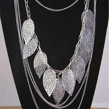 Womens Multilayer Hollow Leaves Pendant Long Sweater Chain Jewelry Necklace BR
