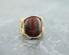 14 k Gold Filled Red Tiger Eye Cabochon Wire Wrapped Ring