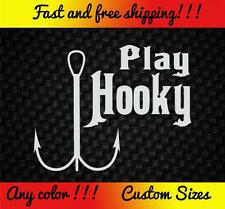 Play Hooky Vinyl Decal Sticker Car Truck Bass Boat Fishing Funny Pole Rod Lure