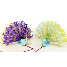 3D Pop Up Greeting Card Peacock Birthday Easter Anniversary Mother's Day Gift JB