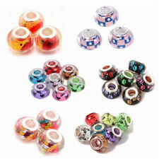 5/10/20/50/100pcs 14x9mm Resin Big Hole Rondelle Spacer Beads Fit European Charm