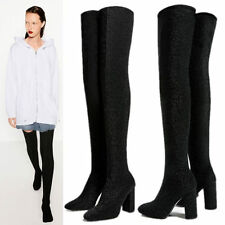 Womens Pull On Stretchy Over Knee Thigh High Boot Block High Heels Slim Leg Boot