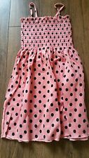 Girls OVS Strappy Summer Dress Peach/Coral with black spots Ages 2-7 Years NEW