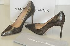 New Manolo Blahnik BB 105 Bronze Black Suede Shoes Pumps Heels  Gold 39 40.5