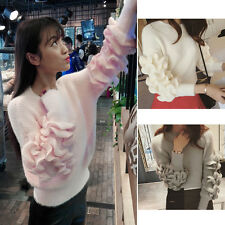 Women's Autumn Winter Long Sleeved Round Neck Knitted Sweater Sexy Tops Blouses