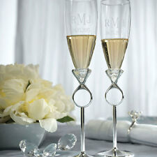 Silver Plated Diamond Ring Wedding Toasting Flutes Cake Serving Set Q26700