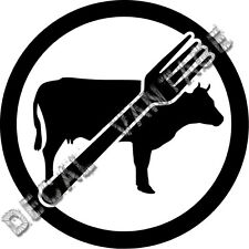 Vegan No Meat Logo Vinyl Sticker Decal Fork Beef - Choose Size & Color