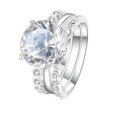 5.0 Ct Round CZ 925 Sterling Silver Wedding Engagement Ring Set Women's Sz  5-10