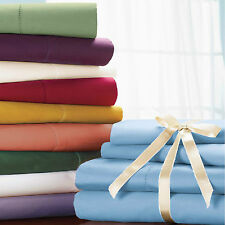 Super Soft 800-1000-1200TC 15 Color US Bed Set 100% Cotton 4pc Sheet Set Solid
