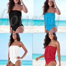 Sexy Women's Off shoulder Elastic Stomache Jumpsuits Pure Color Rompers Swimwear