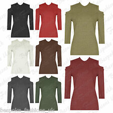 Ladies Women's Sexy Cold Shoulder Cut Out Knitted Ribbed Top Shirt Jumper 8-14