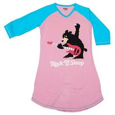 Lazy One Nightshirt Womans Nightgown Sleepwear V Neck Rock Me To Sleep Bear Pink