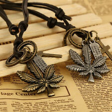 Unisex Men Personality Vintage Leaf Cross Ring bullet PU Leather Retro Necklace