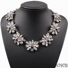 2016 new crystal pendant chain link bib chunky statement necklace party jewelry