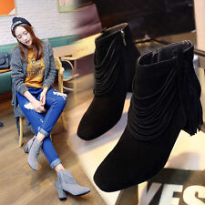 Womens Suede Leather Tassel Chelsea Ankle Boots Square Toe Casual Shoes Oxfords