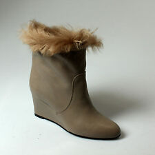 ANKLE BOOT WOMAN RENZI WITH WEDGES LEATHER+FUR LIGHT BROWN - EB20