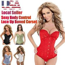 Lady Satin Boned Lace Up  overbust Waist Training Corset Bustier Shaper A58