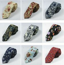 Men Retro Cotton Narrow Skinny Necktie Neck Tie Floral Flower Rose Mens Tie Hot