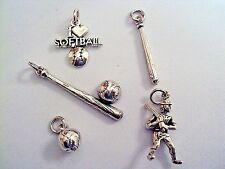 .925 Sterling Silver Traditional Cast Metal 3-D Softball/Baseball Sports Charms