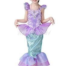 Girl Kid Baby Dress Little Mermaid Ruffle Fancy Halloween Costumes Dresses Party