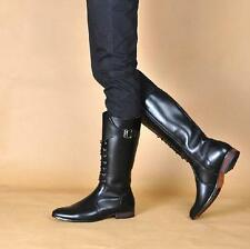 British Style Men's Lace Up Pointed Toe Leather Boots Mid Calf Knight Equestrian