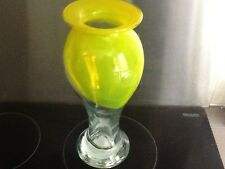 Yellow patterned glass vase