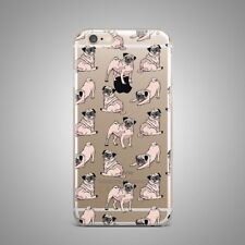 Cute Pug Dog Puppy Custom Design TPU Silicone Rubber Clear Case Cover for iPhone