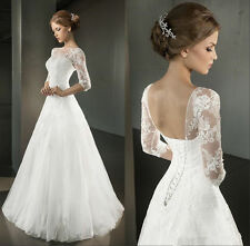 White/Ivory Appliques Half Sleeve Lace Wedding Dress Bridal Gown Size 4-18
