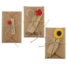 DIY Kraft Paper Greeting Card with Handmade Flower for Valentine