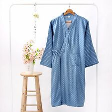 Mens Sleepwear Kimono Pajama Dressing Gown Spa Bath Robe Retro Cotton Linen Hot