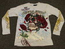 Christian Audigier Men's Skull Roses Double Sleeve Long T-Shirt Stones Off White