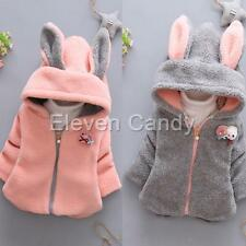 Cute Kids Baby Girls Winter Warm Coat Fleece Hooded Outerwear Ears Jacket Outfit