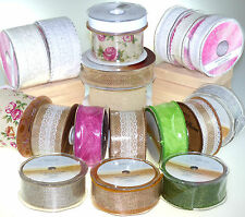NEW Eleganza Wired Country Hessian Ribbon Lace Ribbon HUGE DISCOUNT !!!!