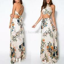 Lady Women Bandage Floral Casual Beach Two Piece Crop Top + Long Skirt Dress Set